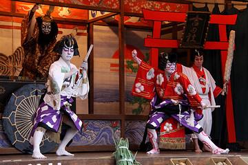 观赏歌舞伎座 Kabuki的表演