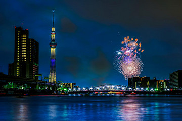 欣赏东京隅田川烟火大会